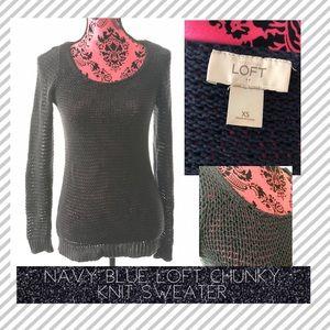 Navy Blue Chunky Knit Round Neck Sweater Size XS